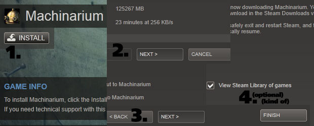 Four clicks to install Machinarium: Install, Next, Next, Finish