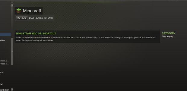 Minecraft shortcut in Steam