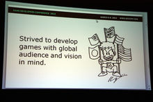 Keiji Inafune drew funny doodles for a GDC presentation photo