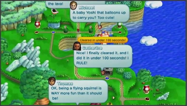 Is there something to the texts in Super Mario Wii U? screenshot