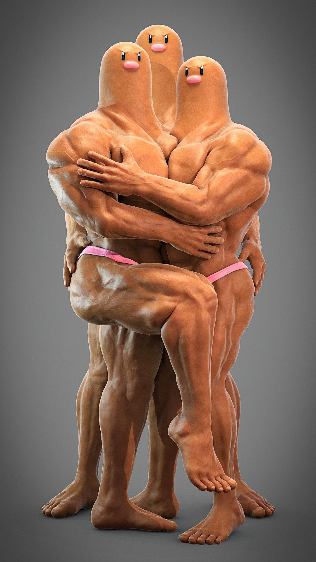 see dugtrio in all his muscular, 3d-rendered glory, Muscles