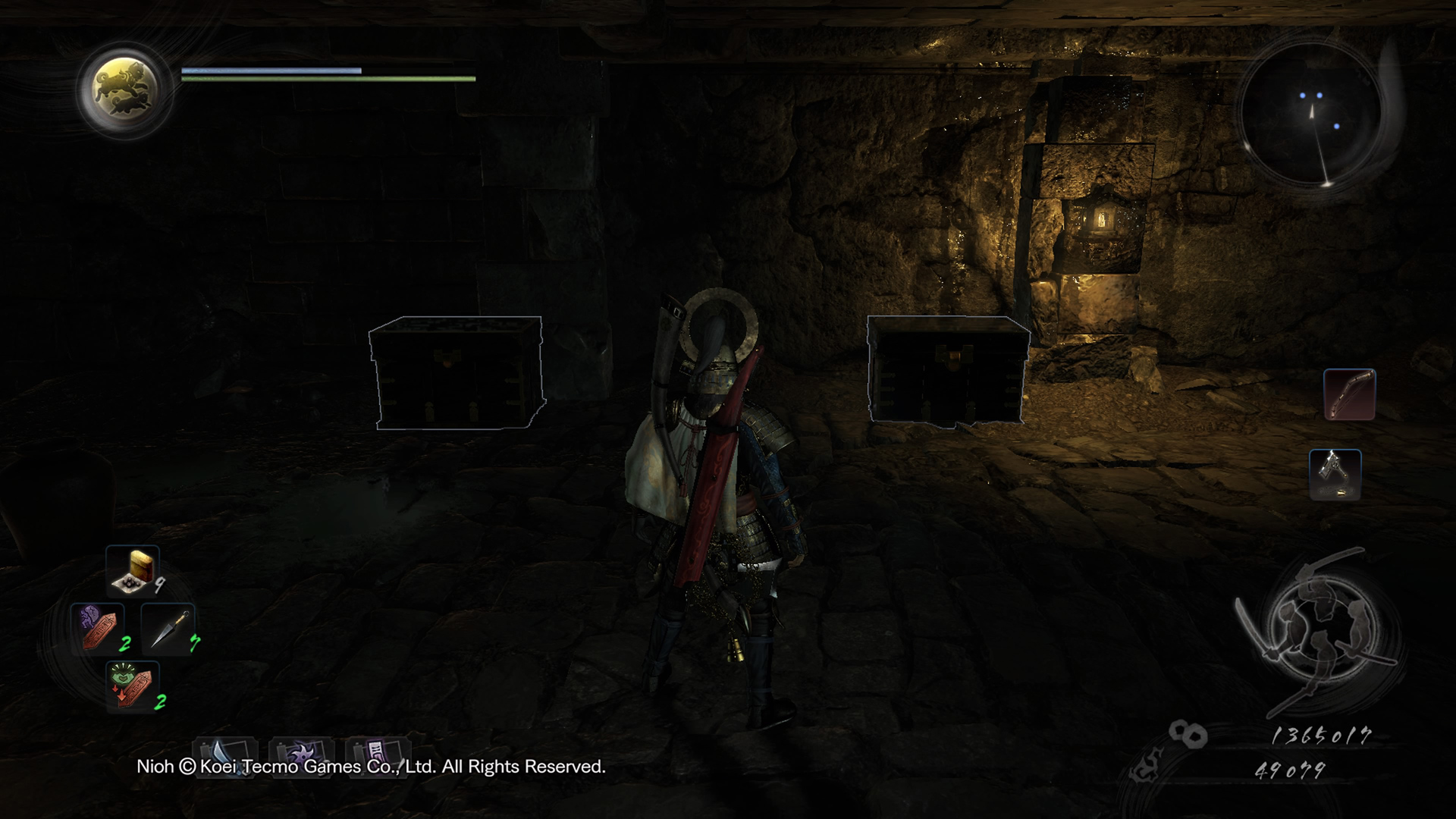 A normal and fake chest in Nioh