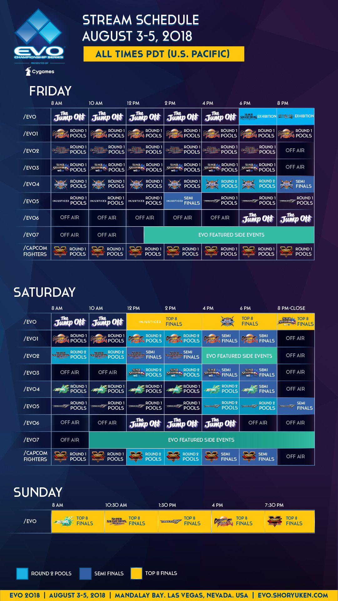 The EVO 2018 stream schedule