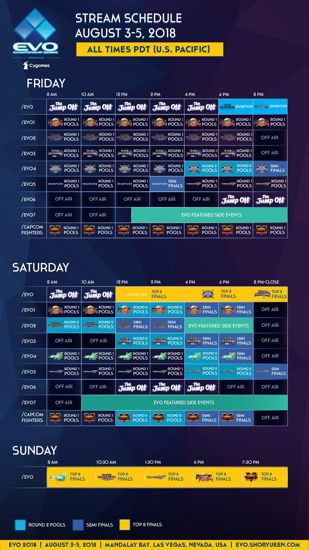 The EVO 2018 stream schedule
