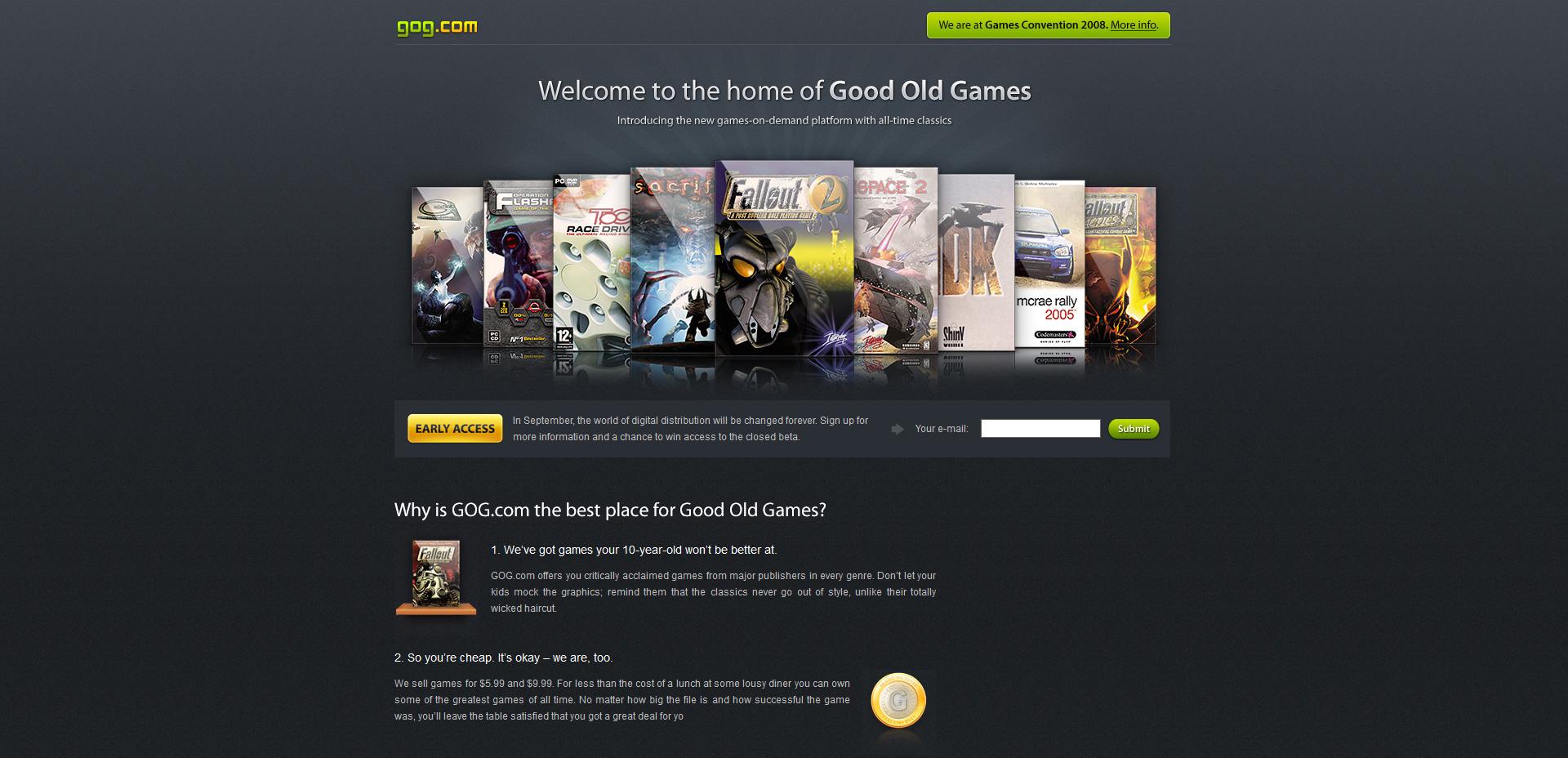 GOG.com aka Good Old Games back in 2008