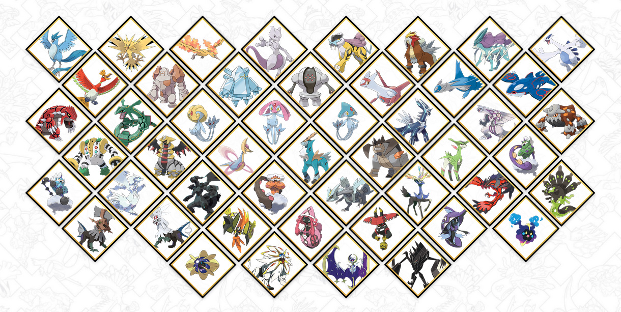 Legendary and mythical Pokemon roster