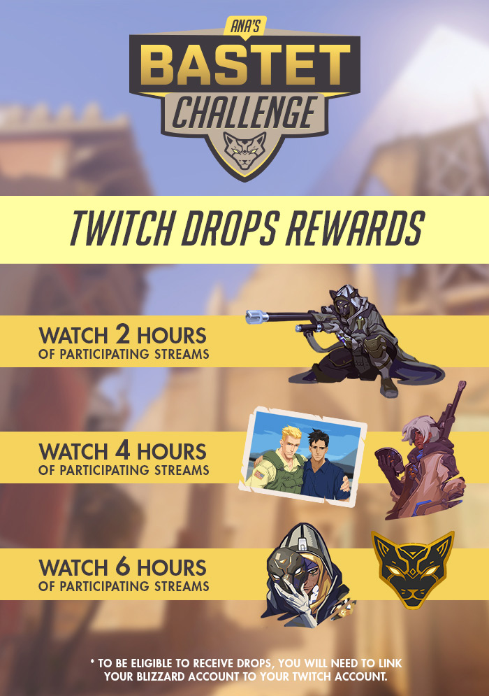 Five Overwatch sprays are included in Ana's Challenge, but you'll need to watch a lotta Twitch.