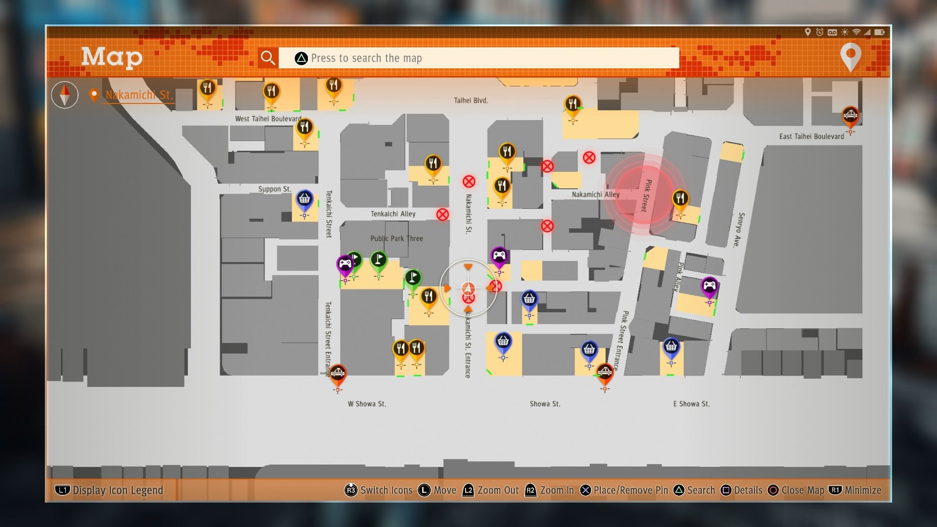 A map of Kamurocho in Judgment