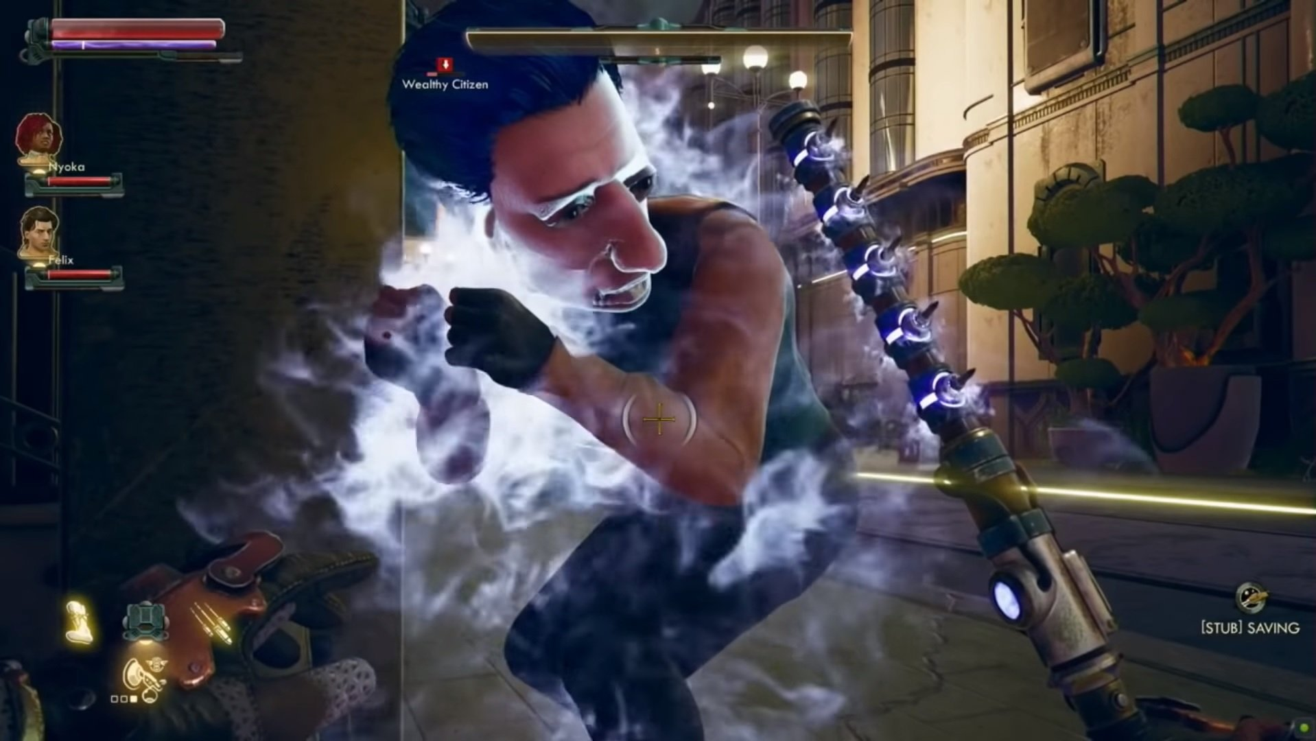 Obsidian's Outer Worlds has a melee weapon that literally rearranges