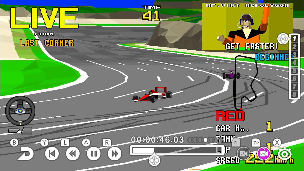Sega Ages: Virtua Racing includes an eight-player split-screen mode screenshot