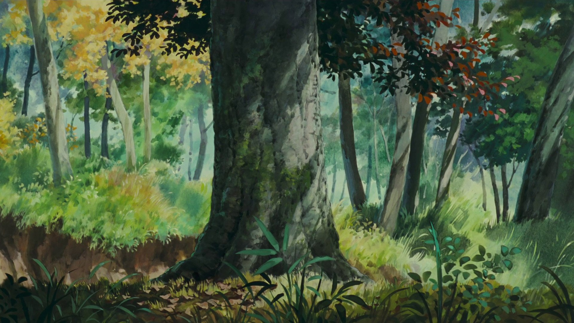 Pom Poko painted nature wallpaper