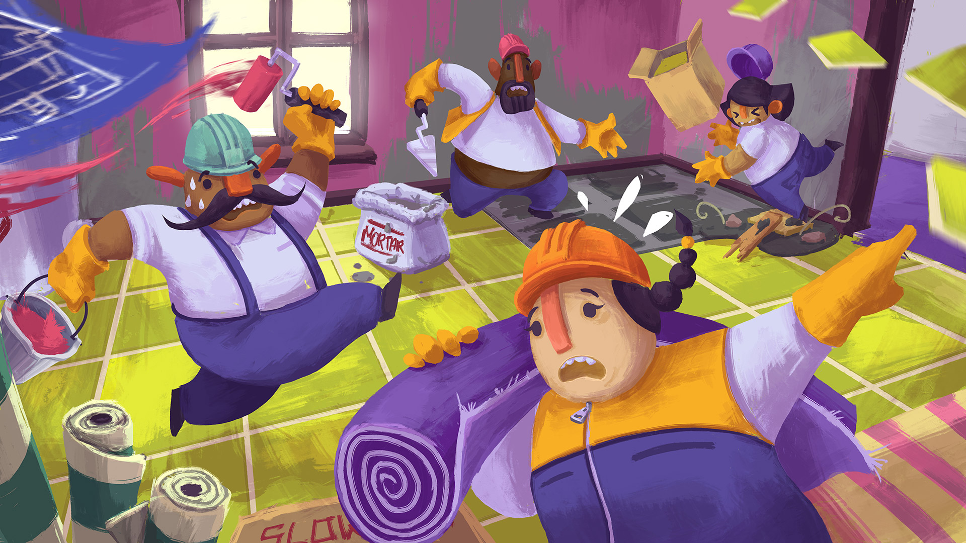 Tools Up is kinda like Overcooked, but instead of cooking, you renovate screenshot