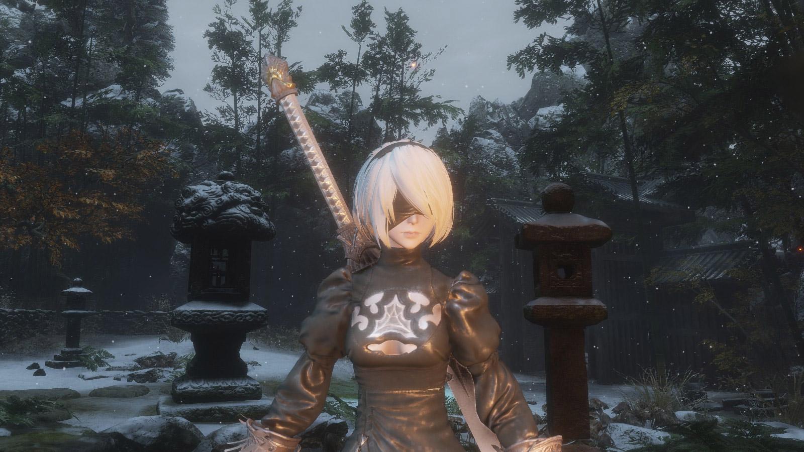 2B brings her bloodlust to Ashina with this Sekiro mod screenshot