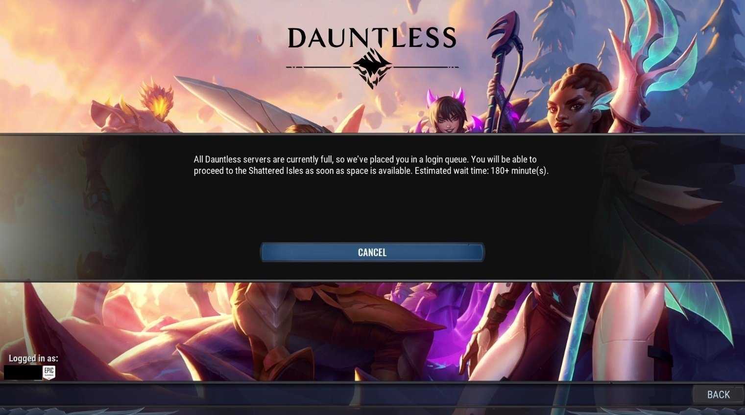 Dauntless servers full