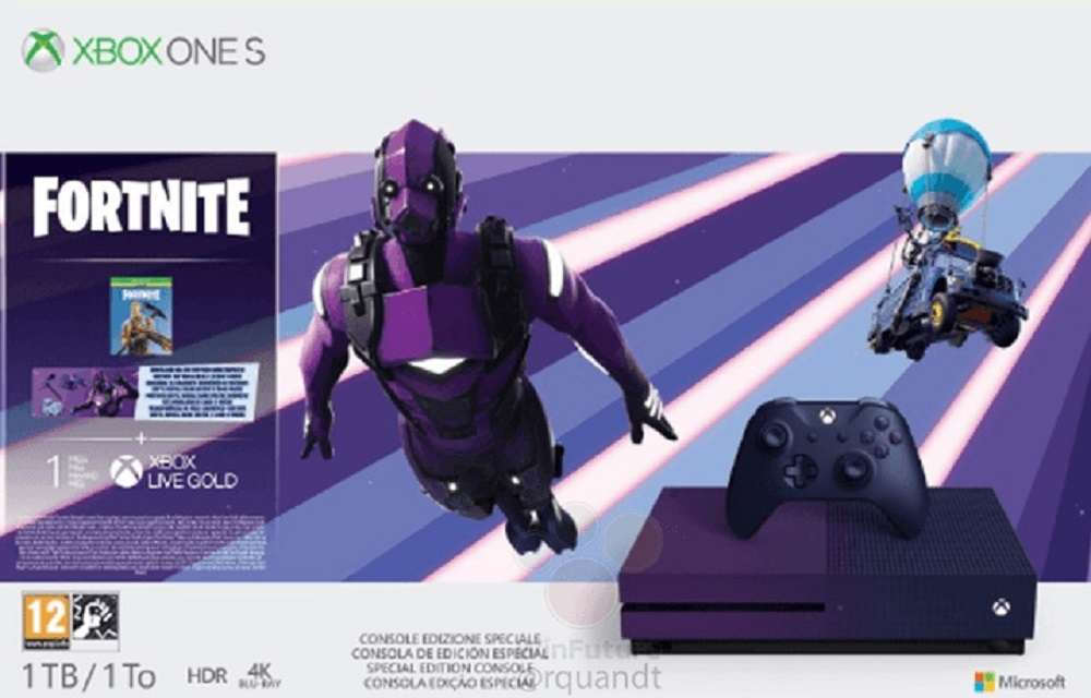 New Fortnite-themed purple Xbox One surfaces online screenshot