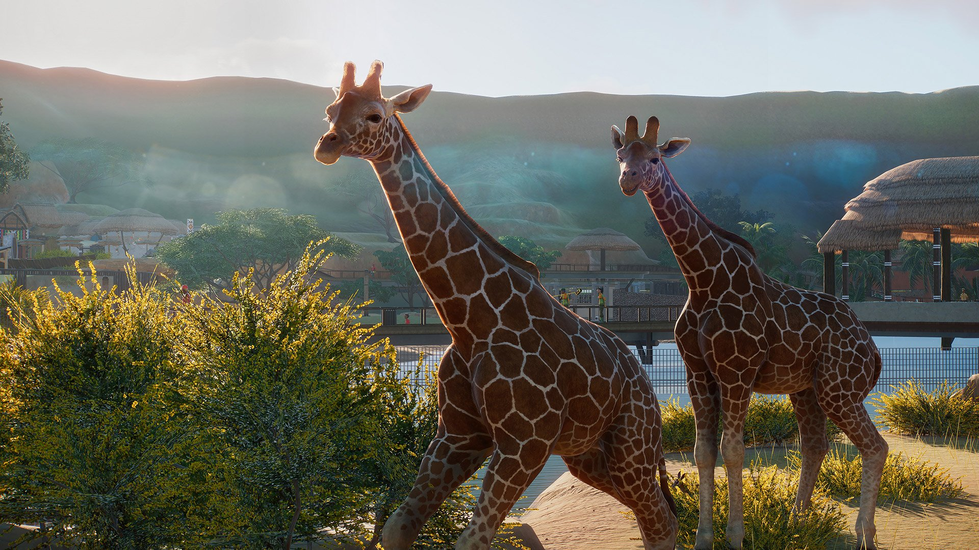 A reticulated giraffe in Planet Zoo