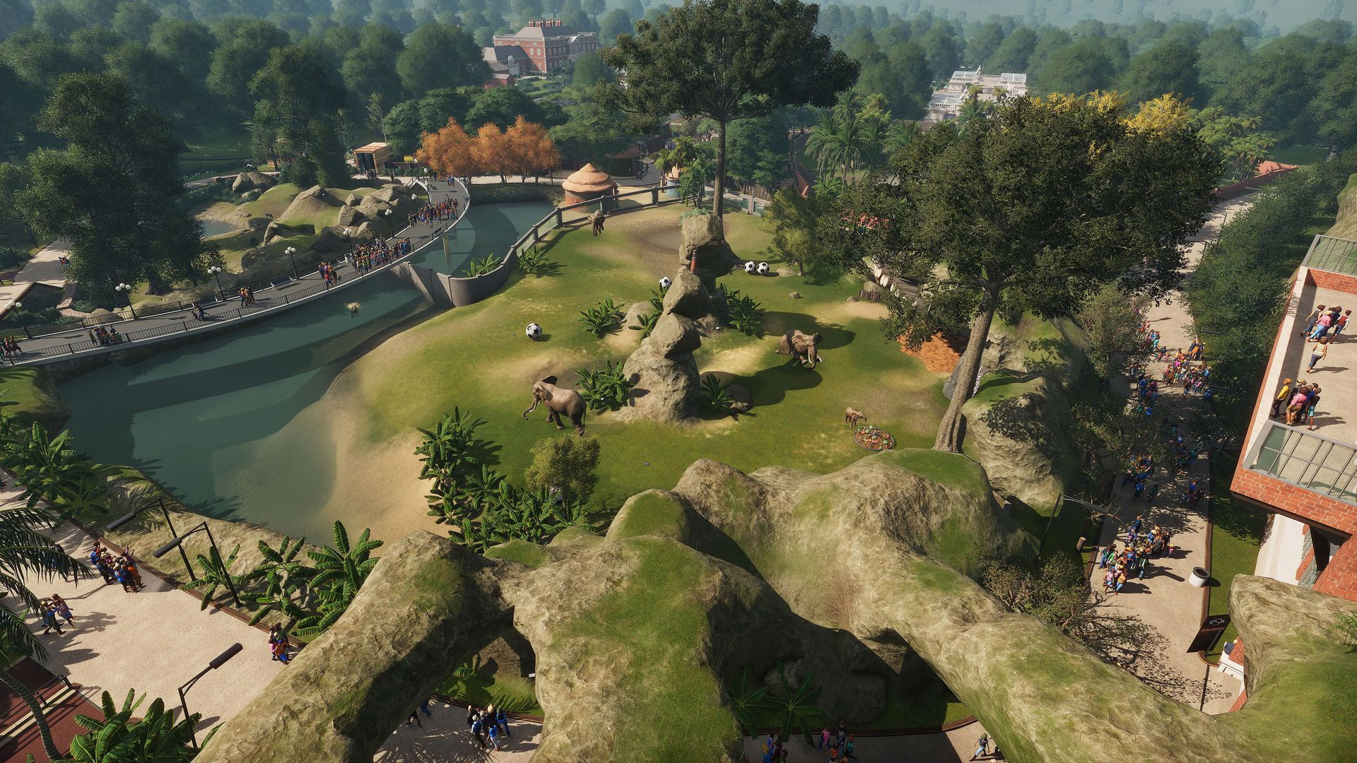 A zoomed-out view of Planet Zoo