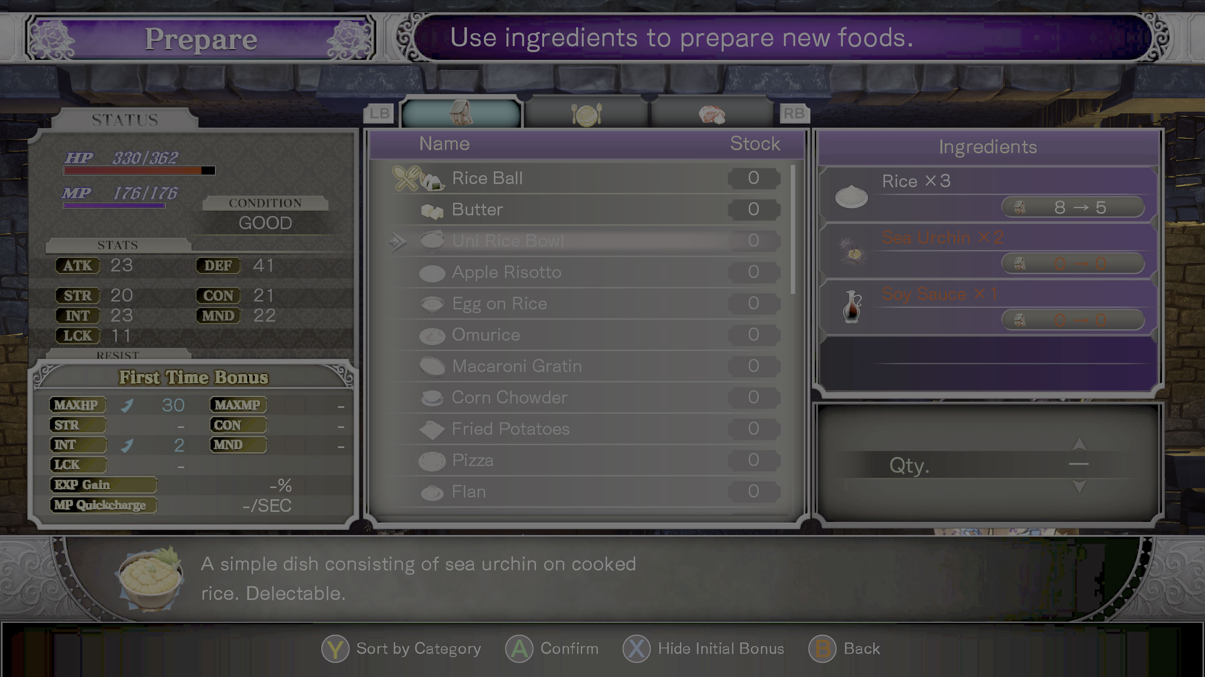 Bloodstained guide: Craft every food item you can at least once screenshot