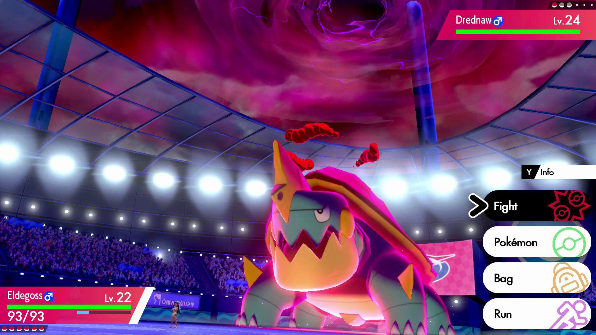 Drednaw using Dynamax in a Pokémon Gym battle