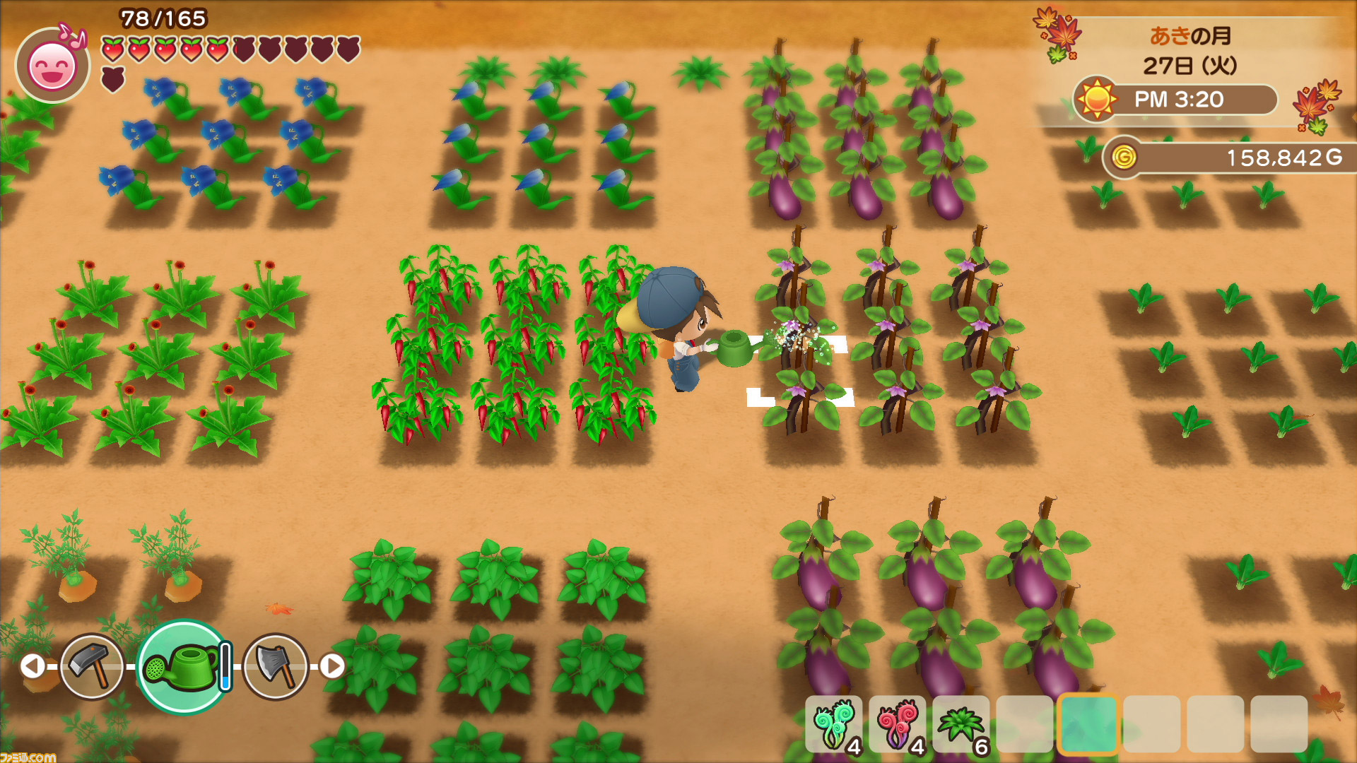 Farming in the Nintendo Switch remake of Harvest Moon: Friends of Mineral Town