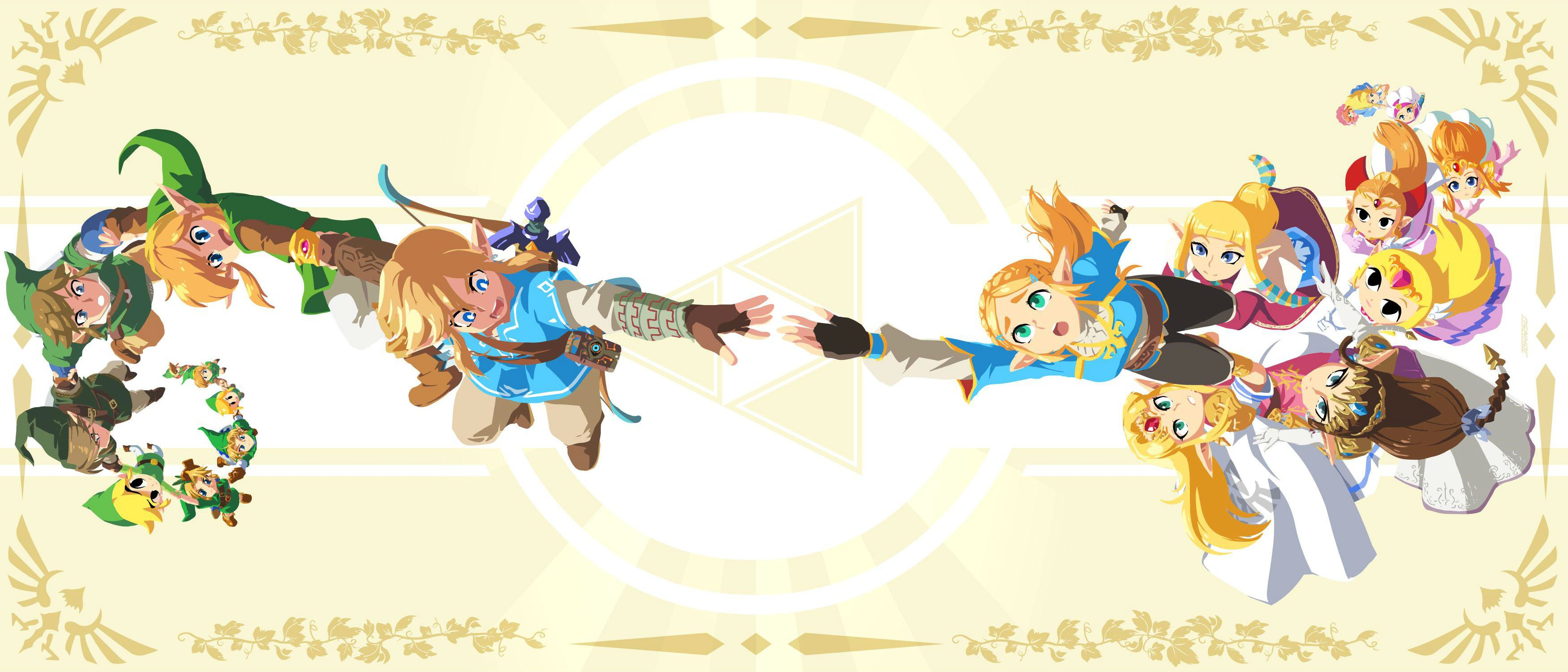 This Legend of Zelda art featuring generations of Link and Zelda is stunning screenshot
