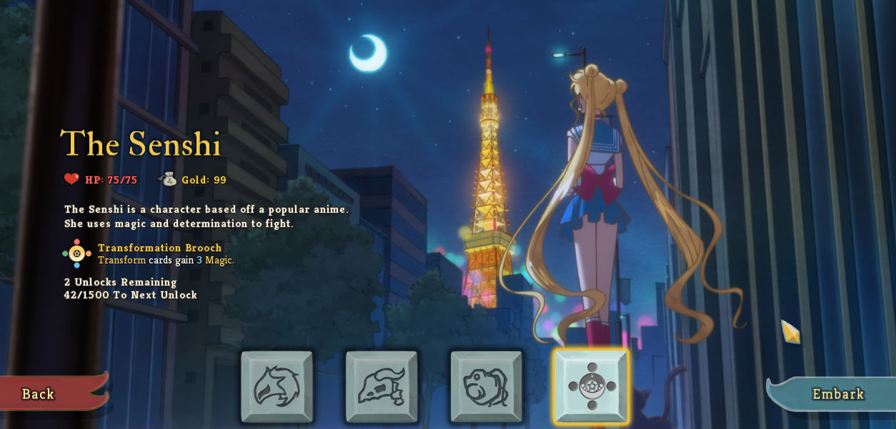 Sure, I'll play a Sailor Moon Slay the Spire mod screenshot