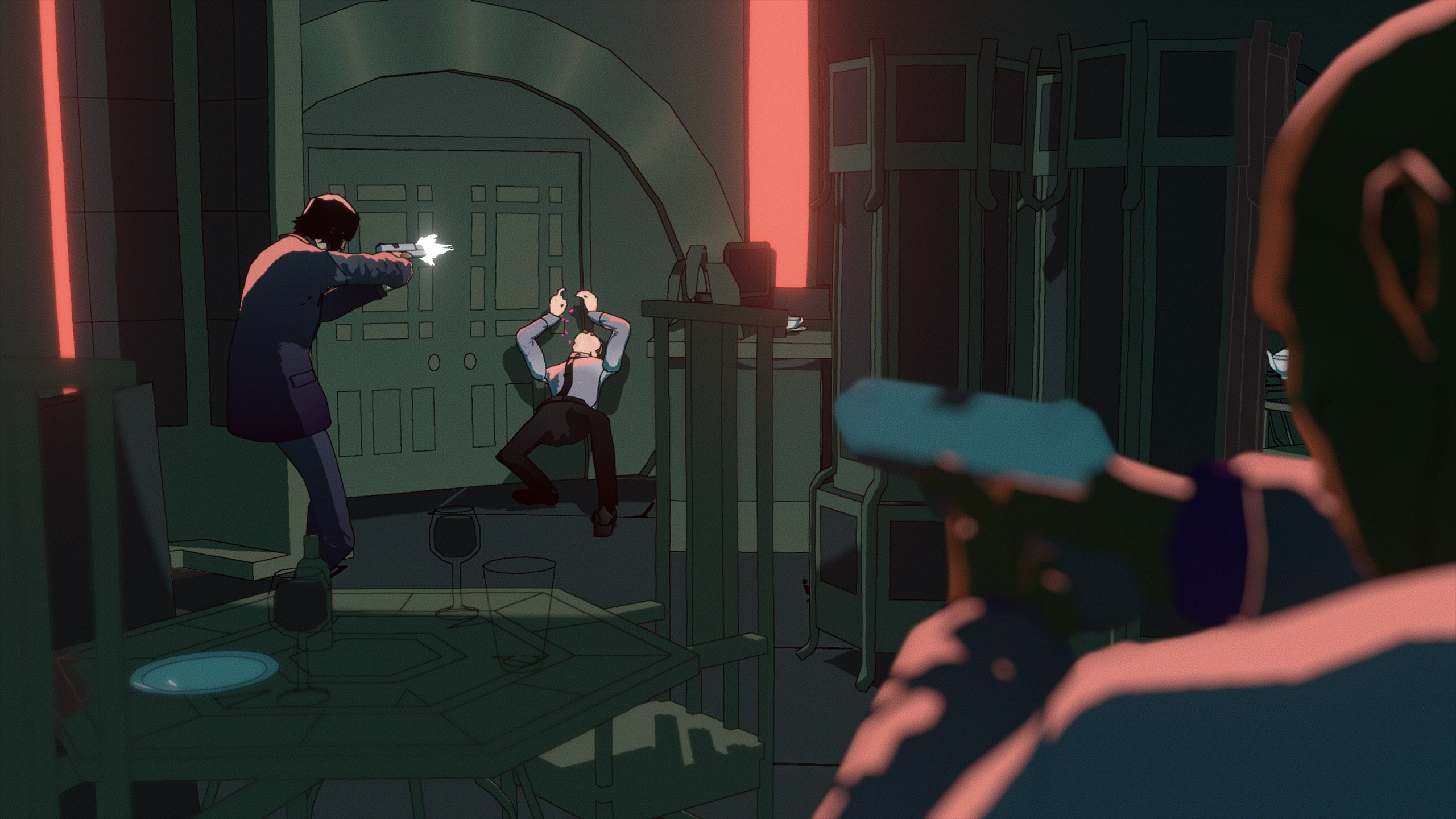 Mike Bithell pretends to kick ass in this John Wick Hex featurette screenshot