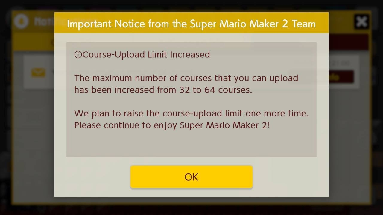 Super Mario Maker 2 ups course upload limit to 64, Nintendo will do it 'one more time' screenshot