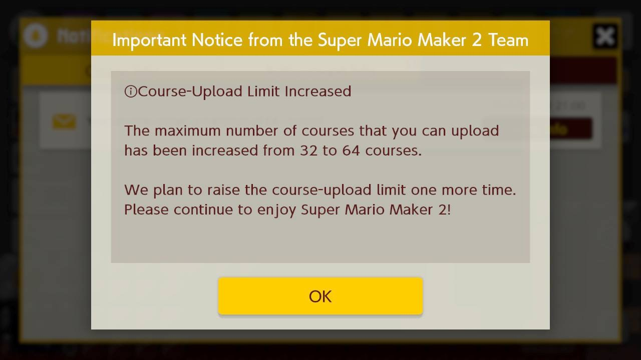 Super Mario Maker 2 Ups Course Upload Limit To 64 Nintendo Will Do It One More Time