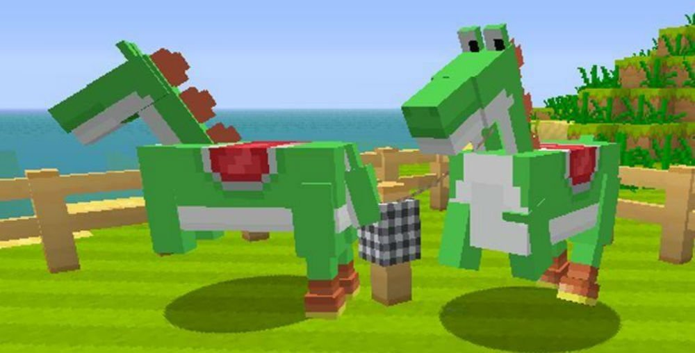 This unholy Yoshi horse abomination almost made it into Minecraft screenshot
