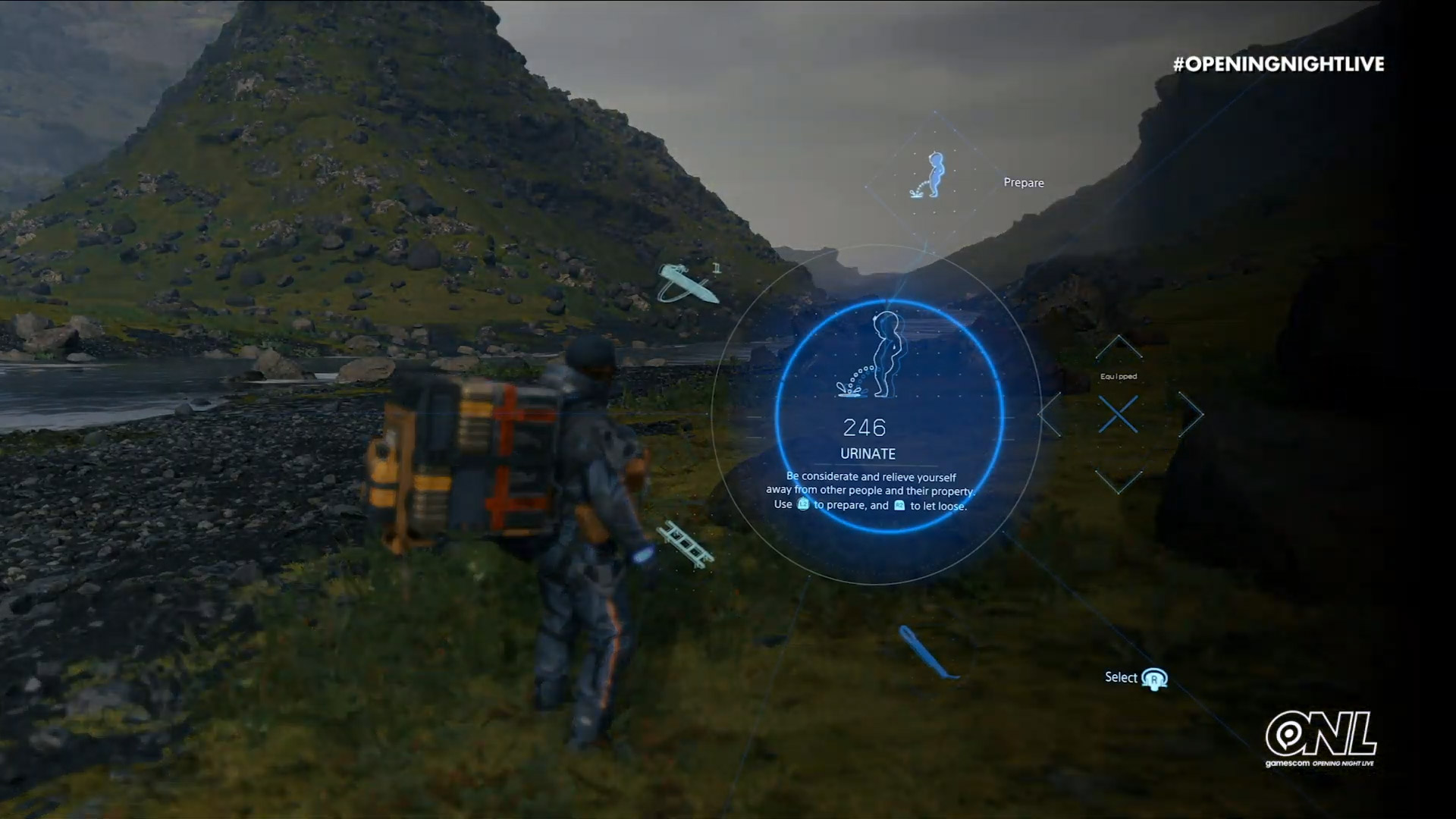 Pissing outdoors is great, here's a Death Stranding gameplay trailer screenshot