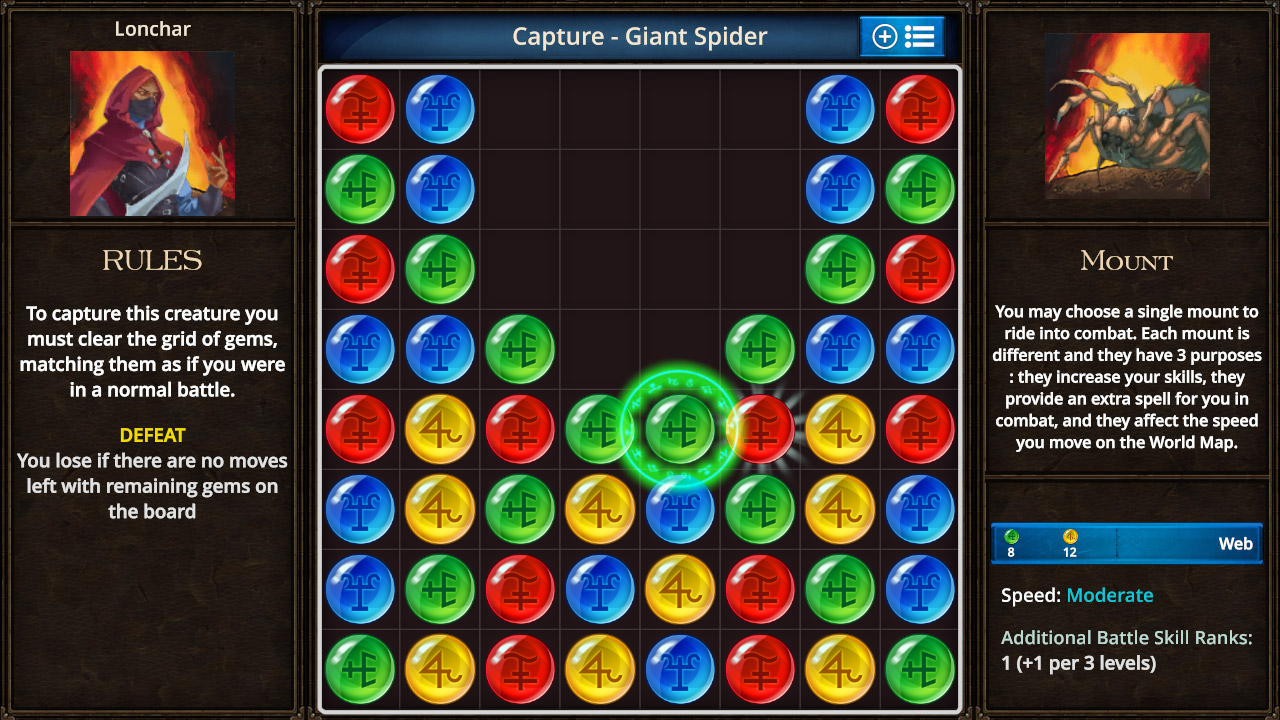 Capturing a spider in Puzzle Quest: The Legend Returns