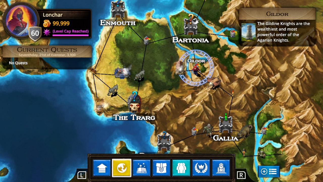 Puzzle Quest: The Legend Returns map screen