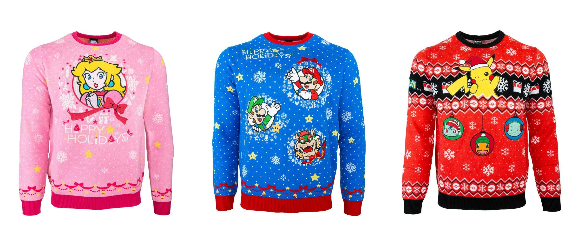 There are three official Nintendo ugly sweaters for the holiday 2019 season.