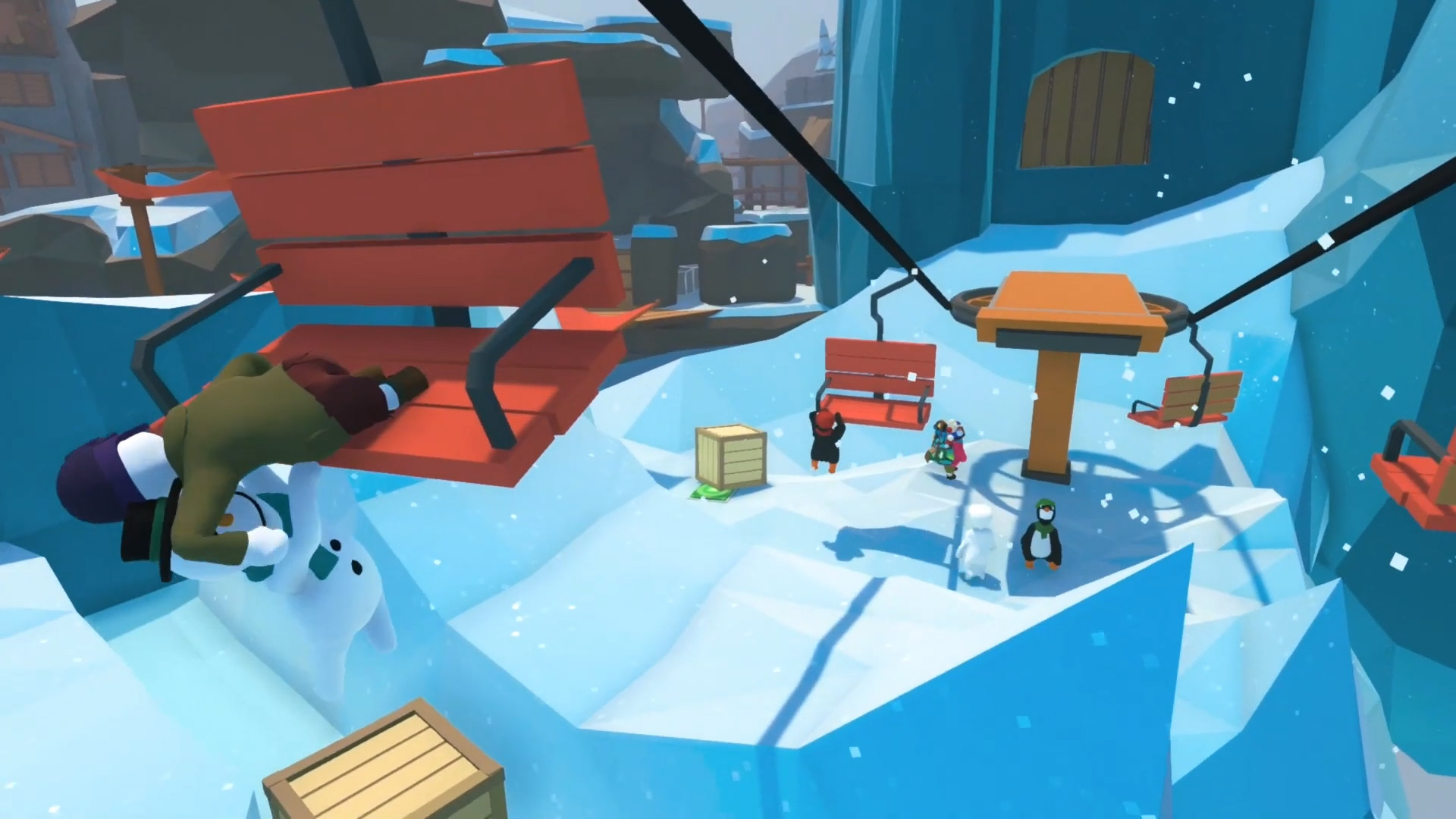 Human: Fall Flat's ice level has snowboards and ski lifts screenshot