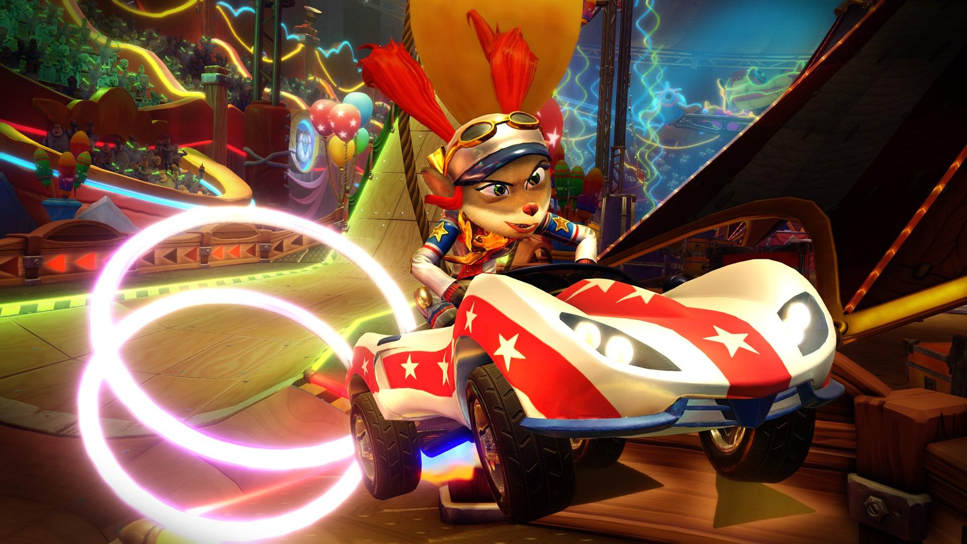 Crash Team Racing's Neon Circus Grand Prix finally puts Pasadena O'Possum behind the wheel screenshot