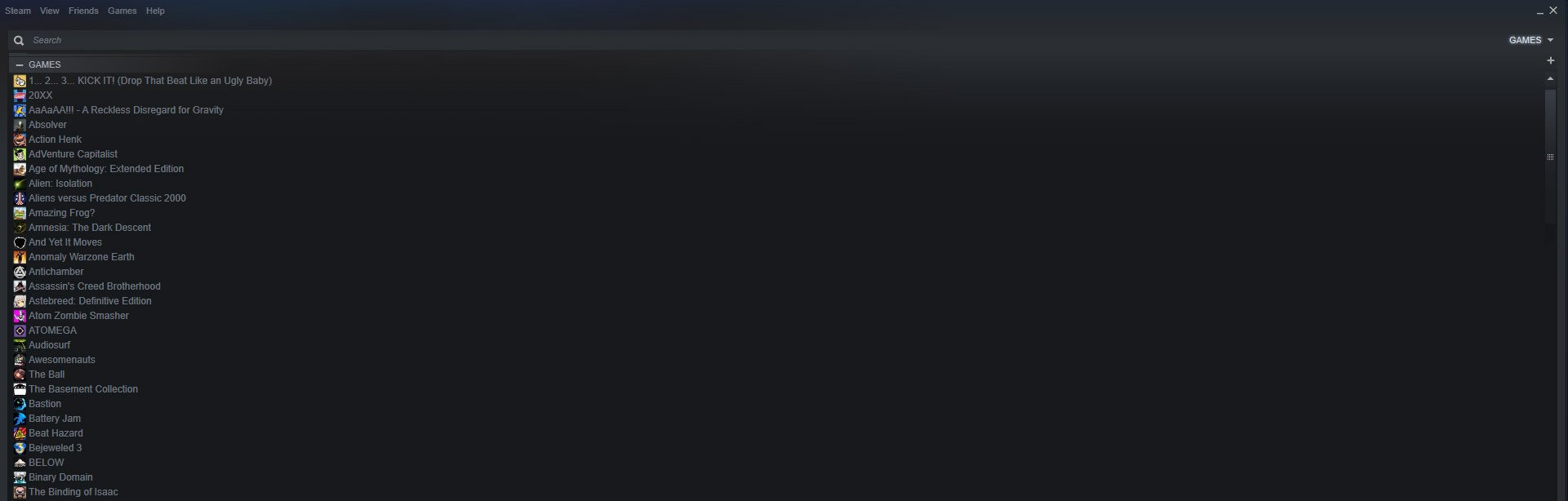 "You can revert to the old Steam library list by clicking ""View"" and then ""Small Mode."""