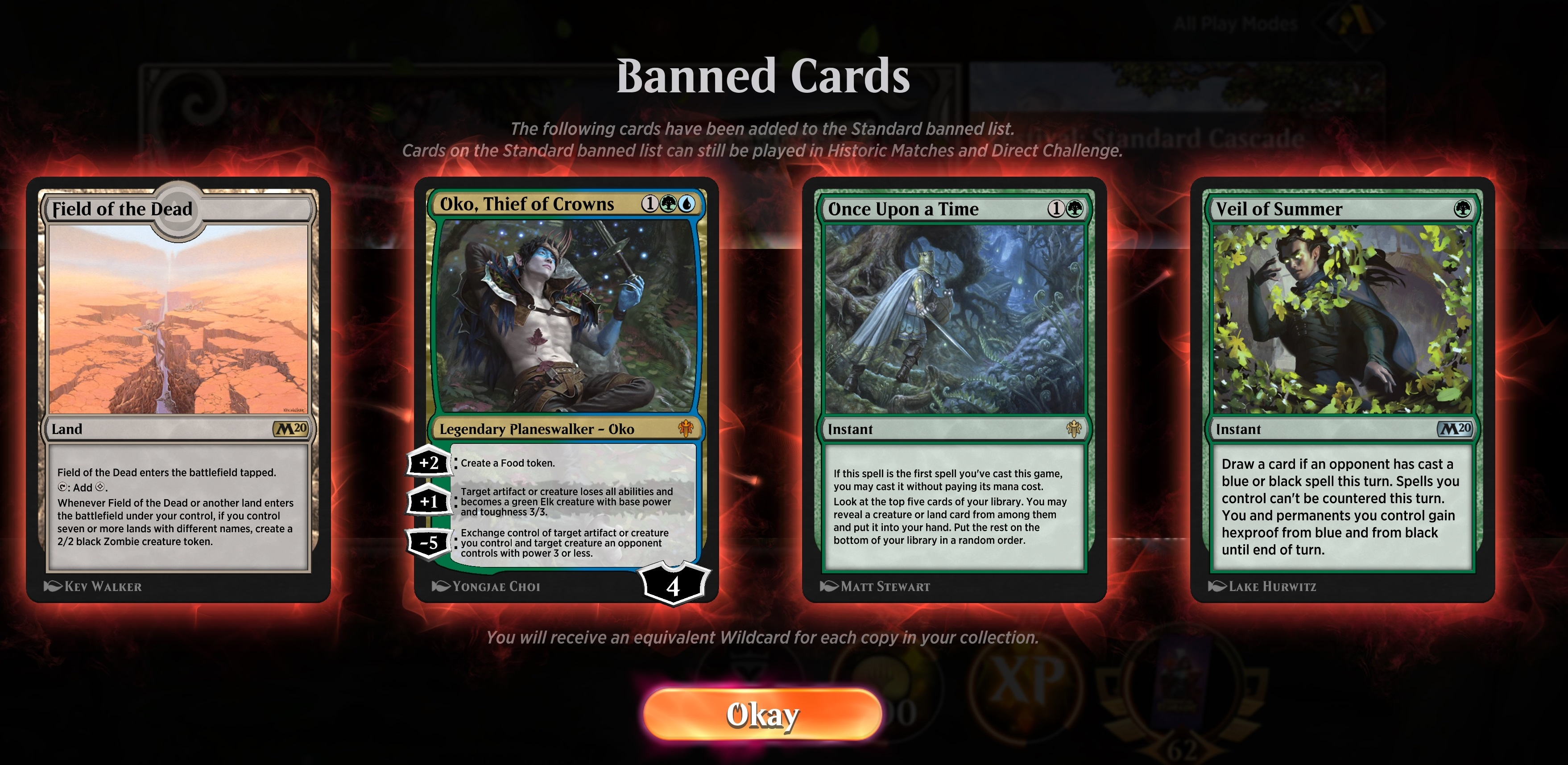Oko has been banned from Magic: The Gathering standard play, which includes Arena screenshot