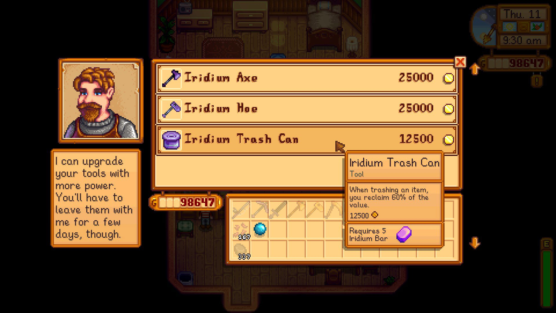 Don't forget to upgrade your trash can in Stardew Valley screenshot
