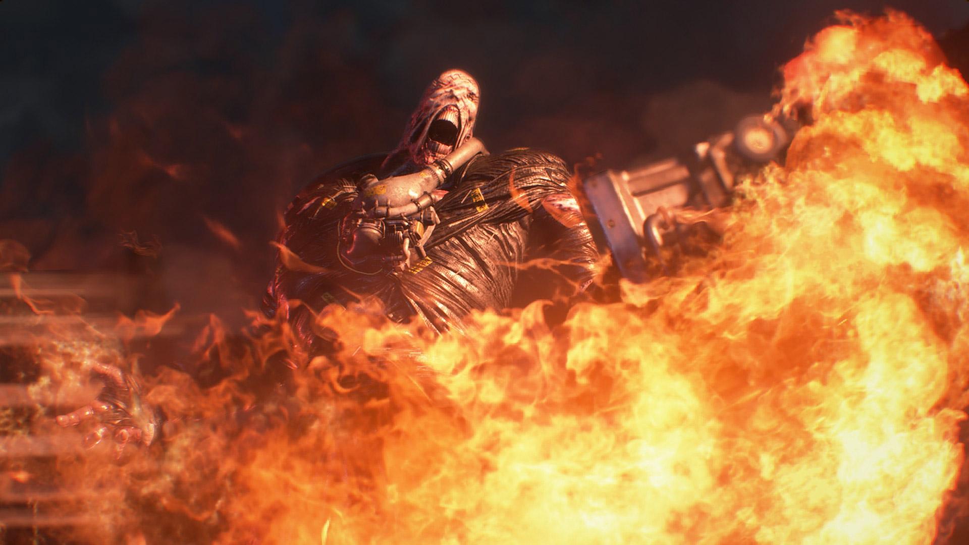 You can hear Nemesis speak in the Resident Evil 2 demo screenshot