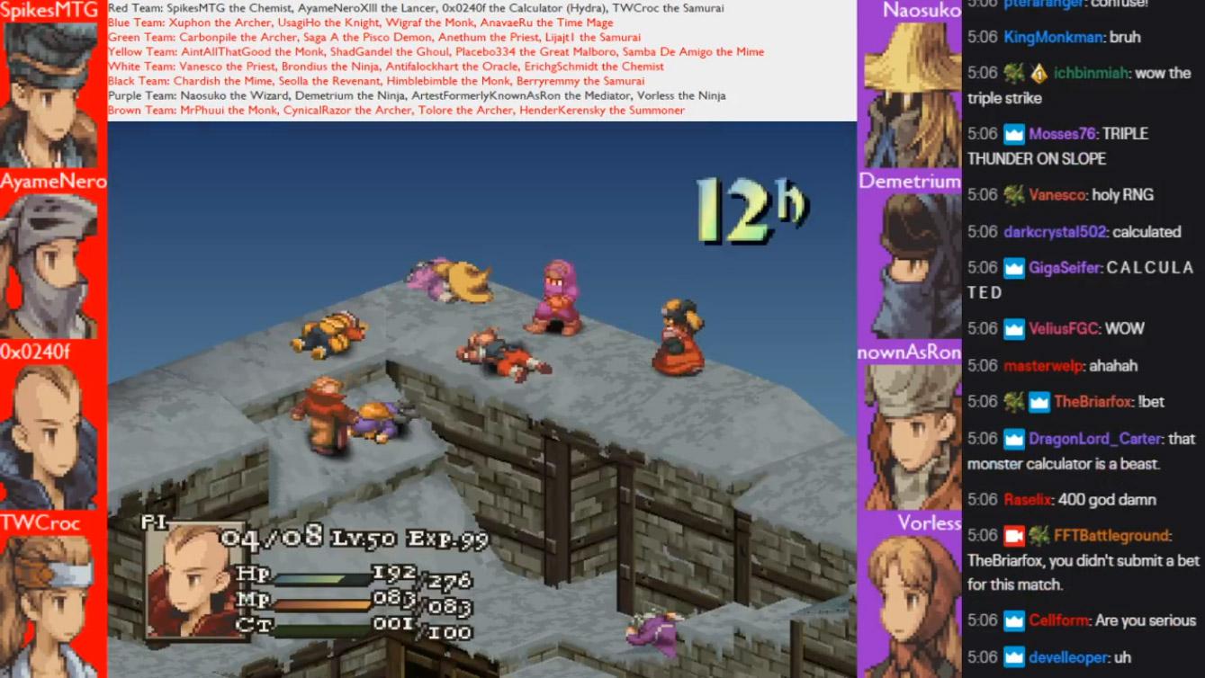 Final Fantasy Tactics fans are placing bets on crazy-fast AI battles screenshot