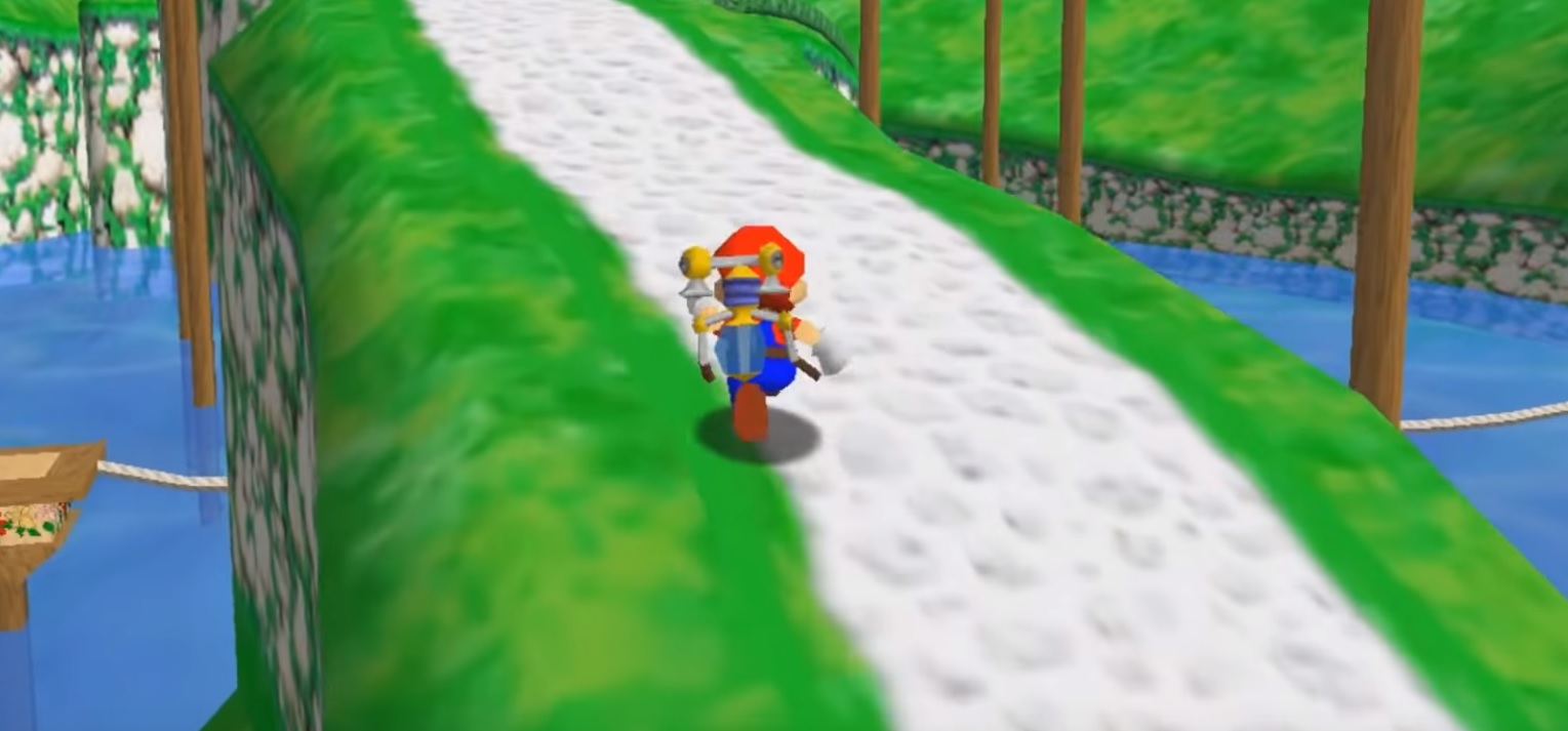 A crazy modder re-created Super Mario Sunshine inside of Mario 64 screenshot