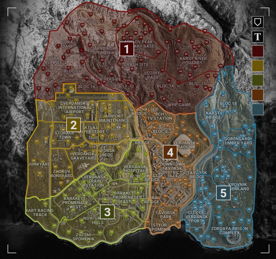 Call of Duty: Warzone Verdansk map locations
