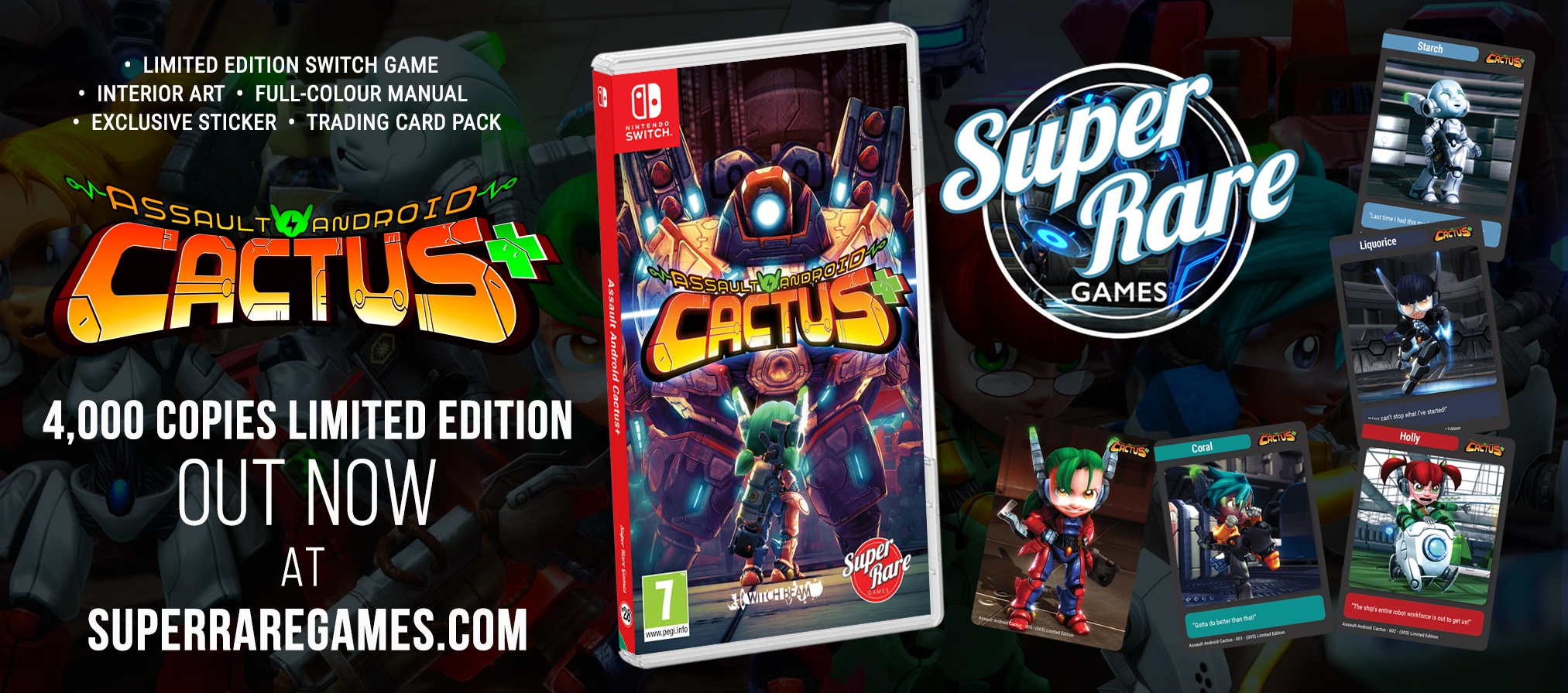 Assault Android Cactus+ Super Rare Games Switch contest