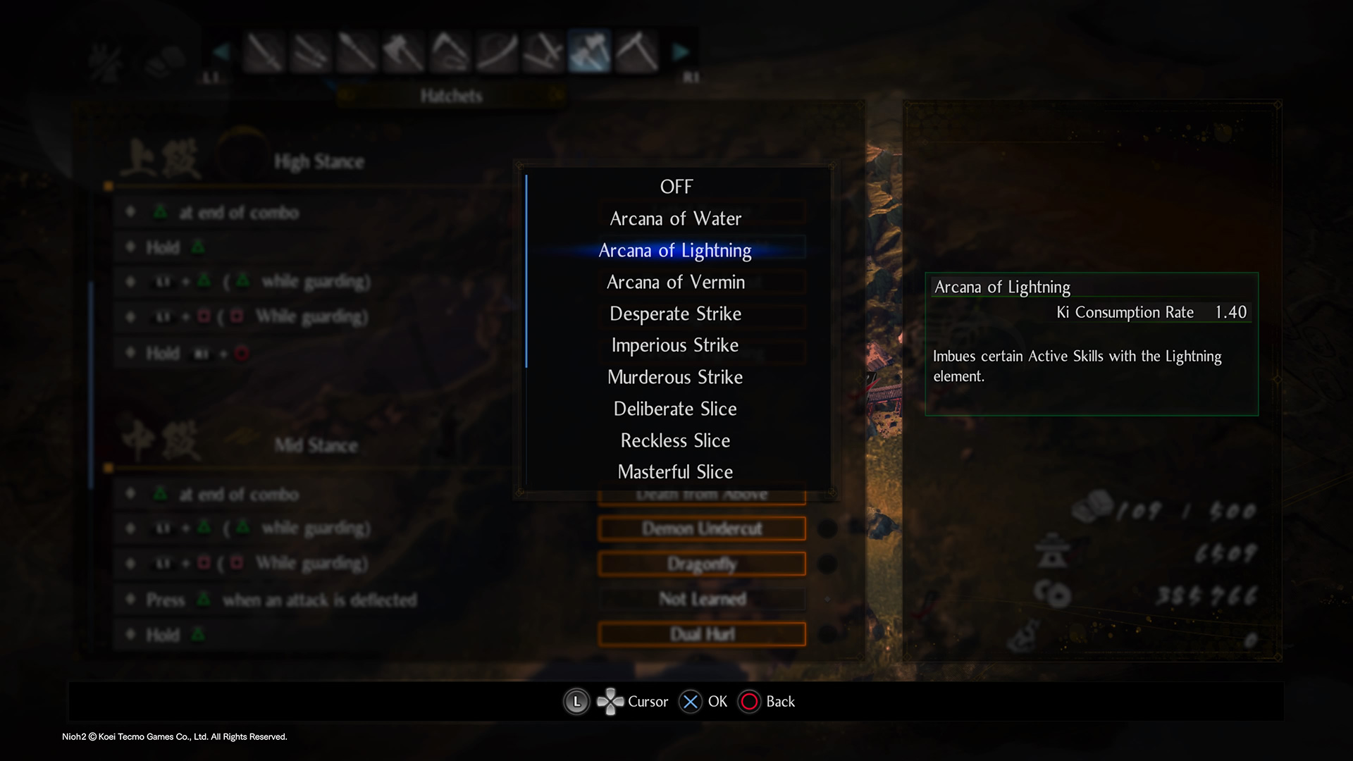 How to equip Arcana of Lightning in Nioh 2