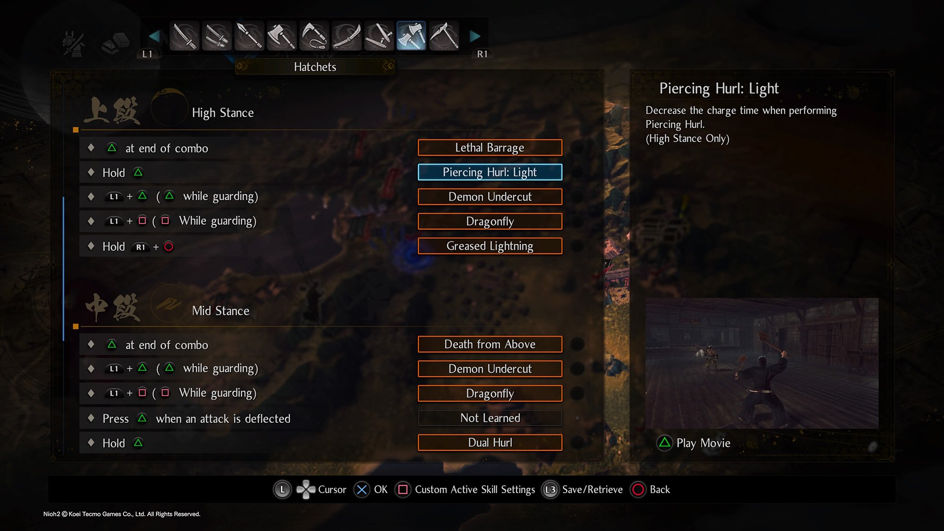 How to customize Active Skills in Nioh 2