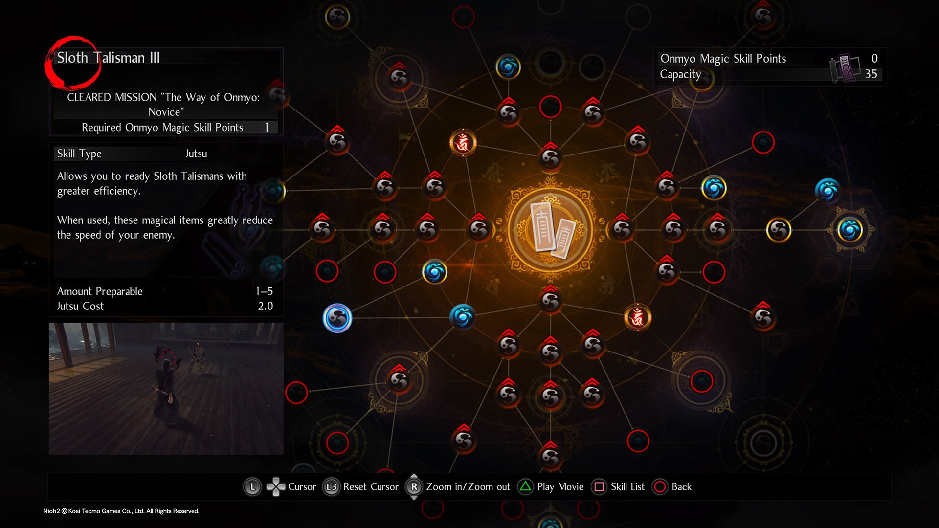 Where to find Sloth Talisman on the Nioh 2 Onmyo Magic skill tree