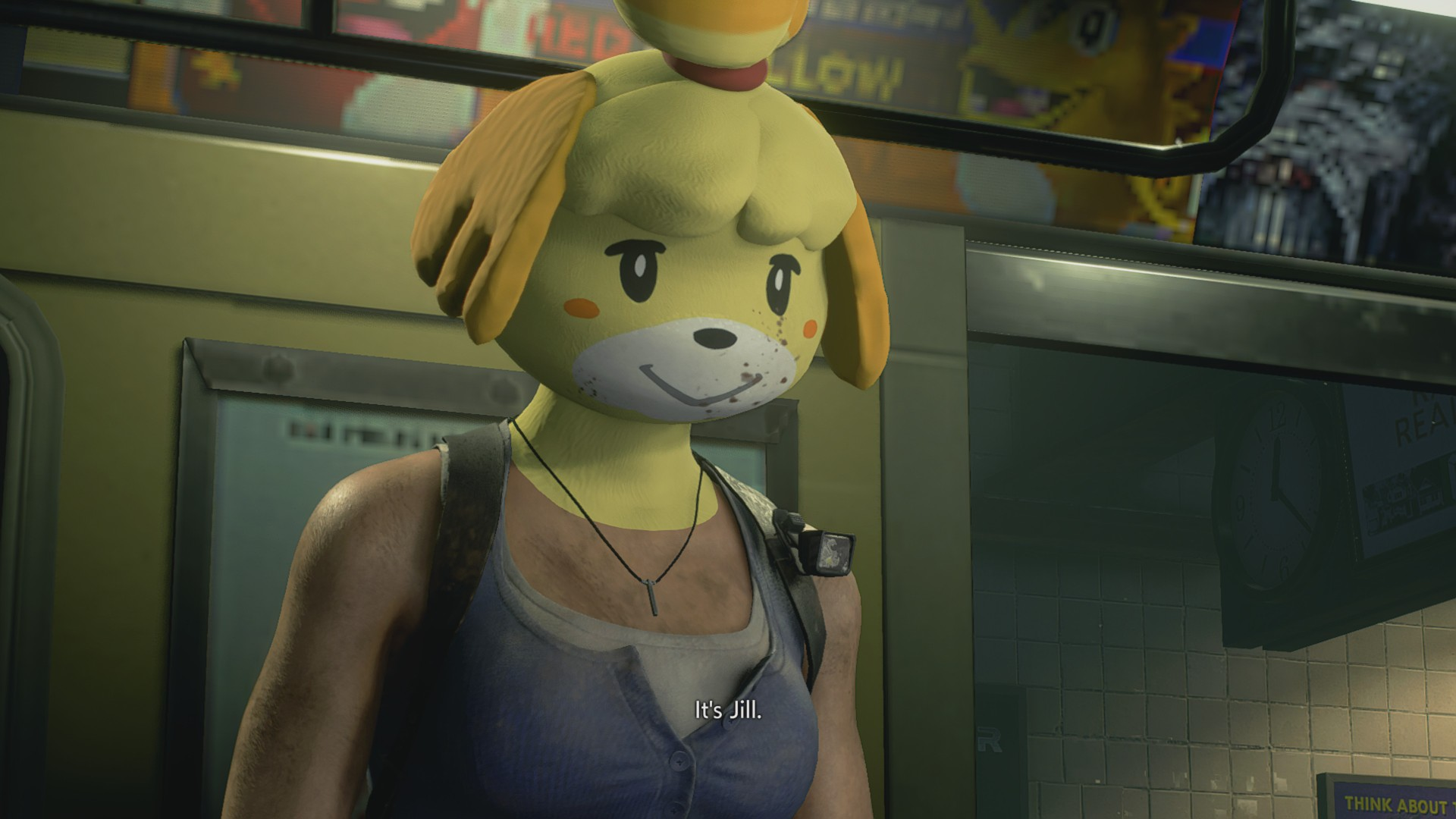 It begins...Resident Evil 3 mod adds a creepy Isabelle mask into the mix screenshot