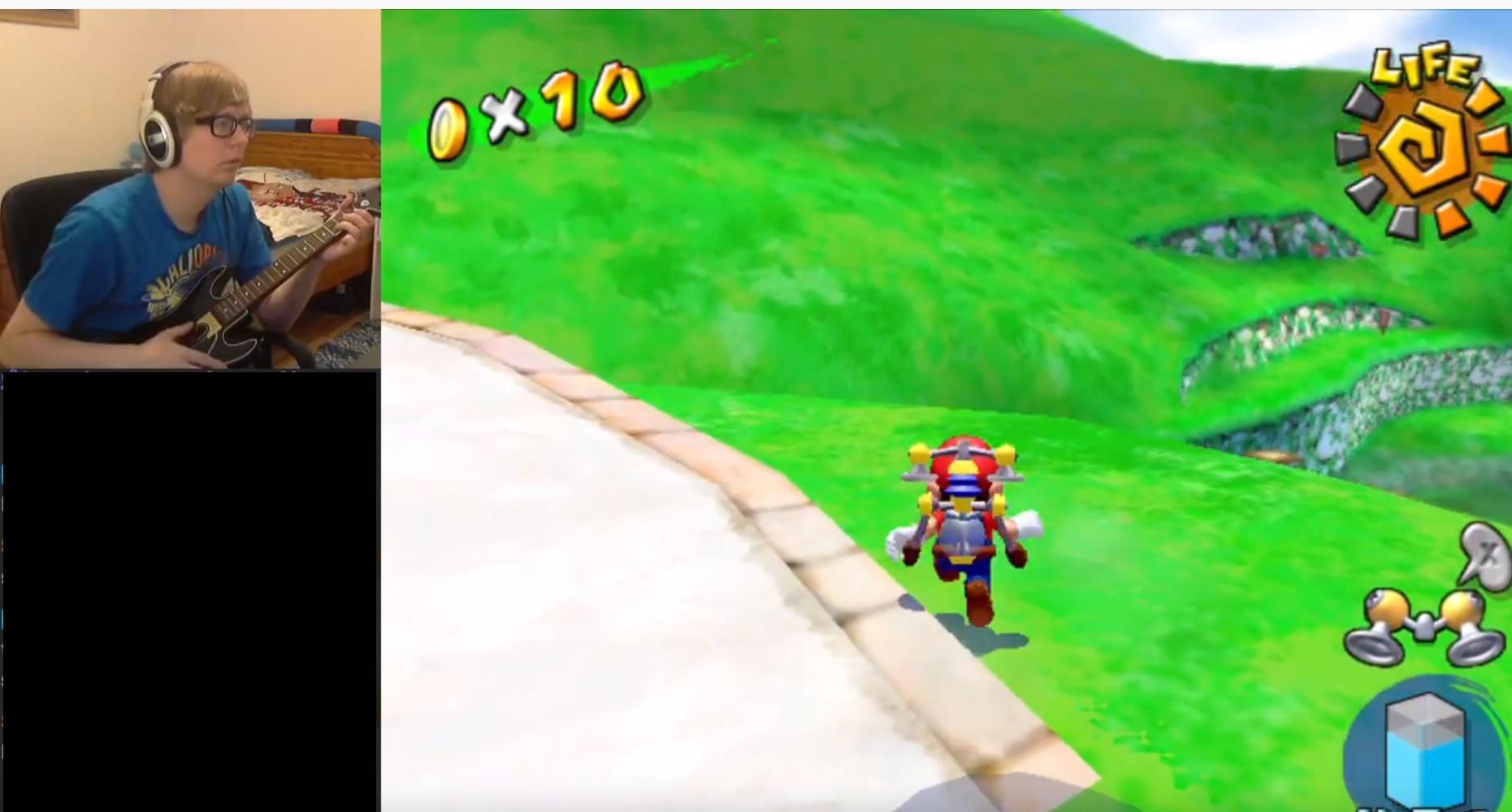 A Mario Sunshine speedrun with a guitar controller? Sure why not screenshot