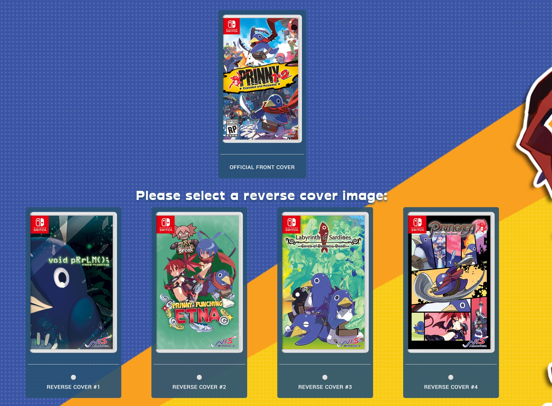 You can vote on which reverse Prinny Switch parody cover makes it in the case  screenshot